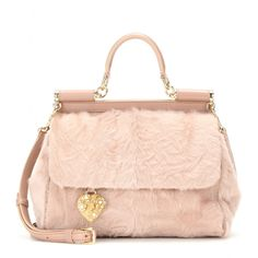 Dolce & Gabbana - Miss Sicily Medium leather and shearling shoulder bag - mytheresa.com