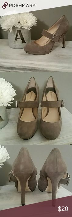 """Gray Suede Heels 4"""" heel with a 1/2"""" platform. Excellent condition, worn a few times, no scratches on shoe or heels. Functioning buckle for easy on and off. Gianni Bini Shoes Heels"""