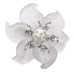 RUSSELL TRUSSO Lily Brooch/Pendant gold diamonds pearl peddles