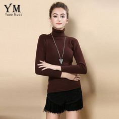 YuooMuoo High Quality Women Sweater New Turtleneck Pullover Winter Tops Solid Cashmere Sweater Autumn Female Plus Size Sweater