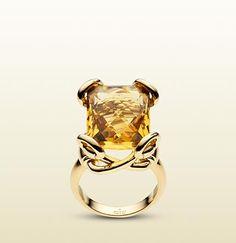 Gucci Horsebit Ring Cognac Quartz