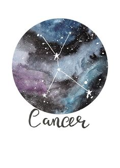 TITLE: Cancer - Zodiac Constellations SIZE: A5 - Unframed art print of my original painting. Printed on beautiful Bockingford 190g paper which has been specially designed for printing artwork. All prints have a small white border. Each print is signed and dated by the artist and are carefully packed in a clear sleeve and a hard backed envelope to ensure it arrives in pristine condition. Artwork © Sarah Frances. http://www.sarahfrances.co.uk https://twitter.com/sara...