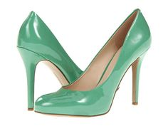 Emerald: Faux patent-leather pumps from Nine West are a more unexpected finish to an outfit than standard black heels.