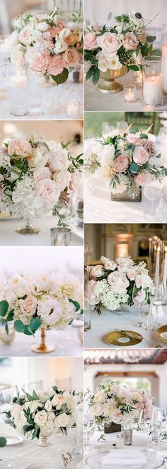 15 elegant blush pink wedding centerpieces for 2019 - oh best day everTrend blush pink elegant wedding centerpiece glamorous rose gold wedding decor ideas Wedding Forwardelegant table plan of rose gold wedding decor on Blush Centerpiece, Blush Wedding Centerpieces, Wedding Reception Themes, Gold Wedding Decorations, Romantic Wedding Receptions, Flower Centerpieces, Wedding Bouquets, Centerpiece Ideas, Outdoor Weddings