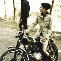Girl on a BSA trials bike.  Awesome vintage style all around.