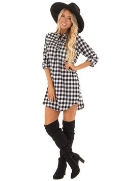 Black and White Checkered Dress with Sleeves Cute Boutiques, Fabulous Dresses, Boutique Dresses, Stitch Fix, Hipster, Rompers, Black And White, Fall, Sleeves
