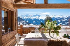 An exceptional mountain retreat focused on high end design, Chalet Bioley has plush furnishings and arguably the best vistas.  This chalet's impressive architecture and interior finish, coupled with its elevated position overlooking the mountains, make this property one of Verbier's finest. This stunning private home sleeps ten adults and three children in five bedrooms. Delight can be found in every detail from its exquisite coffee tables, elegant wicker arm chairs and luxurious sofas… Mountain Living, Mountain Range, Rustic French Country, Cabin In The Woods, Large Baths, Ski Chalet, Luxury Bath, Cozy Cabin, Luxury Villa