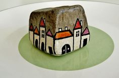 """Village in Alentejo"" - hand painted on an original Portuguese cobble stone ~ by Sabine Ostermann www.facebook.com/pebblesofportugal"