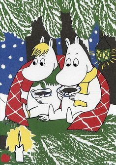 Moomin postcard, a gift. Les Moomins, Moomin Valley, Tove Jansson, Christmas Cartoons, Children's Book Illustration, Christmas Art, Childrens Books, Illustrators, Fairy Tales