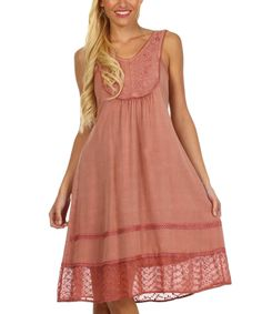 Dusty Rose Embroidered Dress   zulily