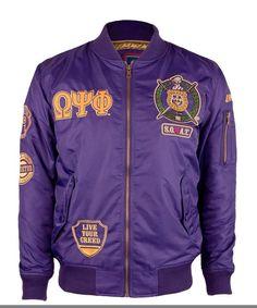 Bomber Jacket Men, Motorcycle Jacket, Bomber Jackets, Omega Psi Phi, Fraternity, Purple, Trending Outfits, Long Sleeve, Sleeves