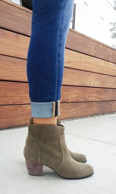 Perfect fall booties in army green suede