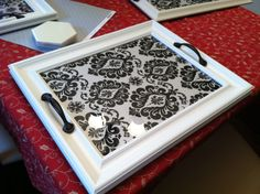 DIY picture frame tray. Dollar store frames and handles, with wrapping paper insert