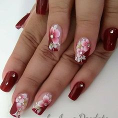50 Ideas For Nails Almond Design Winter – Nails art Flower Nail Designs, Flower Nail Art, Colorful Nail Designs, Nail Art Designs, Beautiful Nail Art, Gorgeous Nails, Stylish Nails, Trendy Nails, Nail Design Spring
