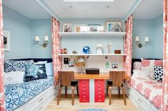 Small girls bedroom layout. Love the way each bed has a curtain for privacy, lighting of their own, drawers for storage under bed as well as their own study space. Lots of function for two in one small room. Would work great in a college dorm room situation as well.