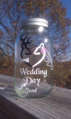 Browning Deer Wedding Day Fund 32 ounce Jar, Piggy Bank. $10.00, via Etsy.