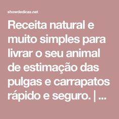 Receita natural e muito simples para livrar o seu animal de estimação das pulgas e carrapatos rápido e seguro.   Dicas