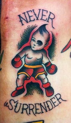 Life is filled with obsticles..never surrender! A tattoo can be a reminder of aother time.