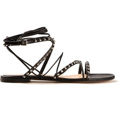 Gianvito Rossi Studded Black Leather Cassidy Flat Sandals (980 AUD) ❤ liked on Polyvore featuring shoes, sandals, flat leather sandals, black flat sandals, flat sandals, studded flat sandals and black sandals