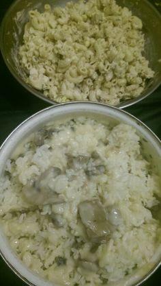 Mommas tuna macoroni salad and cream of mushrooms  gravy over  jasmine rice