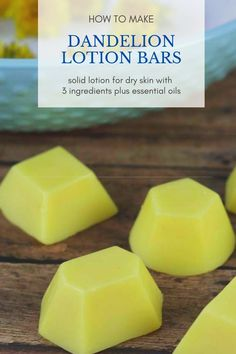 How to make lotion bars diy three ingredients. These easy lotion bars are made with dandelion oil, b Lotion For Dry Skin, Diy Lotion, Lotion Bars, Hand Lotion, Dandelion Oil, Sugar Scrub Recipe, Lotion Recipe, Homemade Soap Recipes, Homemade Gifts