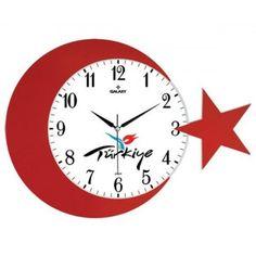 AY YILDIZ TÜRK BAYRAKLI ÇOK ŞIK DUVAR SAATİ !!!!