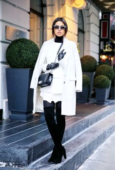 White and Leather | Street Style |