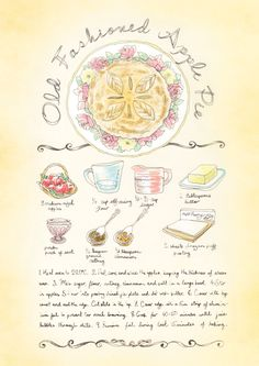 Old Fashioned Apple Pie #Recipe. #illustration