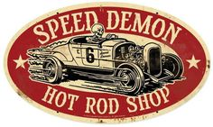 Vintage and Retro Tin Signs - JackandFriends.com - Speed Demon Hot Rod Shop Oval Metal Sign 24 x 14 Inches, $39.98 (http://www.jackandfriends.com/speed-demon-hot-rod-shop-oval-metal-sign-24-x-14-inches/)