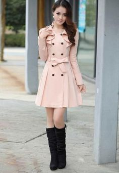 Light Pink Cotton Trench Coat with Drape Embellishment Stylish Dress Designs, Stylish Dresses, Cute Dresses, Girls Fashion Clothes, Winter Fashion Outfits, Fashion Dresses, Clothes Women, Cute Casual Outfits, Pretty Outfits