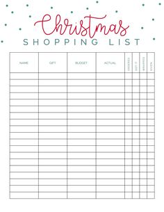 Check this out fabulous Christmas shopping budget list!