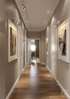 White Wall Trimmings / Grey Hallway / White Frames / Modern Elegance /  Textured Wall Modern Apartment For A Young Family.