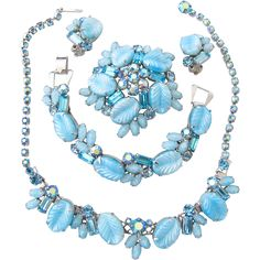 Weiss Rare Pastel Blue Glass Leaf Grand Parure, offered by Ruby Lane Shop, 2Hearts Uptown Jewelry & Accessories.