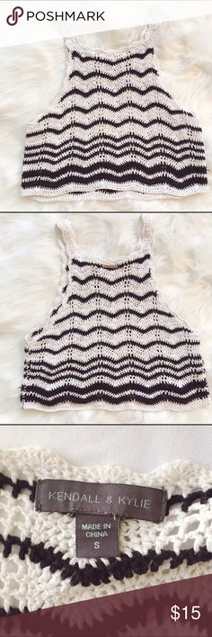 Small | Knitted Crop Tank Kendall & Kylie knitted crop tank top, size small. Perfect condition. Kendall & Kylie Tops Crop Tops