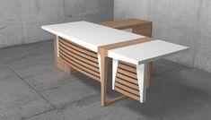 Διευθυντικό γραφείο, Μοντέρνο ξύλινο γραφείο Modern Office Table, Office Table Design, Reception Desk Design, Office Furniture Design, Modern Desk, Office Interior Design, Office Interiors, Office Workspace, Office Decor