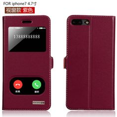 6 Colors Genuine Cow Skin Cover for iphone 7 4.7'' View Window Flip case for iphone7 inner Soft TPU Magnetic Close Free Shipping #Affiliate