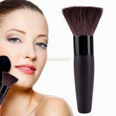 New Flat Top Long Powder Foundation Makeup Cosmetic Face Fiber Brush No Foundation Makeup, Liquid Foundation, Powder Foundation, Synthetic Brushes, Mineral Powder, Makeup To Buy, Natural Glow, Blusher, Bronzer