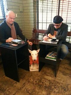 Latte buddies at Coffee Alchemy.  Buttercup is the English Bull terrier.