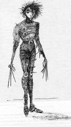 Edward Scissorhands by Tim Burton Style Tim Burton, Art Tim Burton, Tim Burton Stil, Tim Burton Artwork, Tim Burton Drawings, Tim Burton Kunst, Tim Burton Zeichnungen, Edward Scissorhands, Bonham Carter