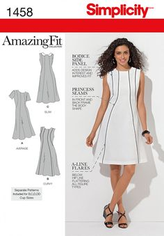 Simplicity 1458 Misses' and Plus Size Amazing Fit Dress Sewing Pattern