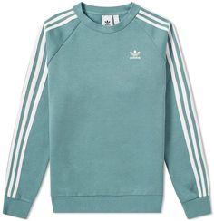 Adidas Originals Adidas 3 Stripe Crew Sweat In Green Adidas Jumper, Adidas Outfit, Nike Outfits, Adidas Sweaters, Adidas Jacket, Adidas Long Sleeve Shirt, Long Sleeve Shirts, Addidas Shirts, Camisa Adidas