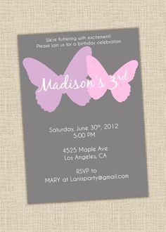 Purple, pink & gray Butterfly Invitation  Baby shower birthday by lanispartydesigns, $15.00