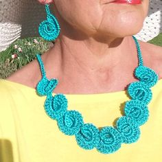 Crochet Necklace and Earrings Teal Aqua Color Satin by knittee