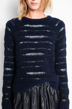 Zadig & Voltaire round neck sweater, long raglan sleeves, loose fit, allover stripes, 26% wool, 26% alpaca, 35% acrylic, 12% polyamide, 1% elastane.