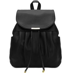 Yoins Leather-look Backpack in Black ($33) ❤ liked on Polyvore featuring bags, backpacks, black, vegan backpack, draw string bag, faux leather drawstring backpack, faux leather bag and draw string backpack