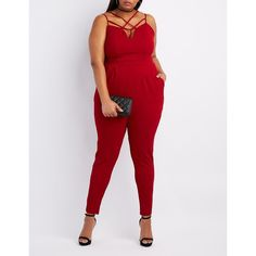 Charlotte Russe Strappy Caged Yoke Jumpsuit (€36) ❤ liked on Polyvore featuring plus size women's fashion, plus size clothing, plus size jumpsuits, burgundy, sweetheart neckline jumpsuit, sexy jumpsuits, plus size jump suits and women's plus size jumpsuits