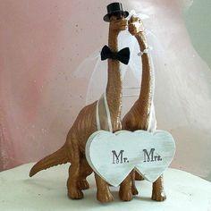 Fall Wedding Cake Topper Dinosaur Wedding by MrandMrsCakeToppers
