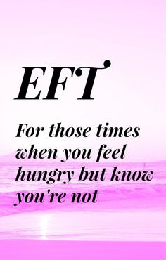 EFT - Emotional Freedom Techniques to help you when you feel hungry and know that you're not really. Some days I just feel hungry constantly and whatever I eat doesn't satisfy my hunger. This EFT session will help you to release this feeling. Tap along with me.