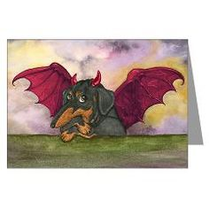 Batwing Weiner Dog Greeting Cards (Pk of 10)> DACHSHUND HALLOWEEN CARDS> Dogs, Cats, Creatures and Critters by Terry Pond