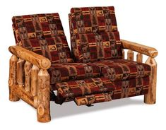 Amish Rustic Log Reclining Loveseat Bring in a natural, rugged look with log furniture. Choice of aspen, pine or cedar wood. #logcabin #logfurniture